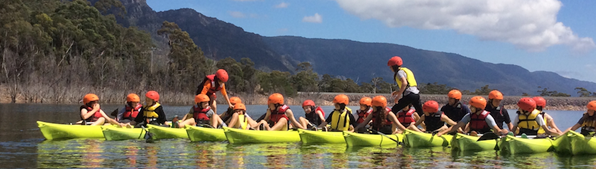 Canoeing on lake Bellfield School Camp